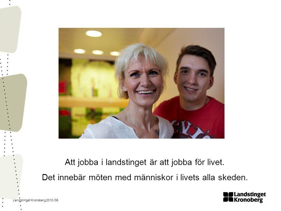 Landstinget Kronoberg 2010 /36 Att jobba i landstinget är att jobba för livet. Det innebär möten med människor i livets alla skeden.