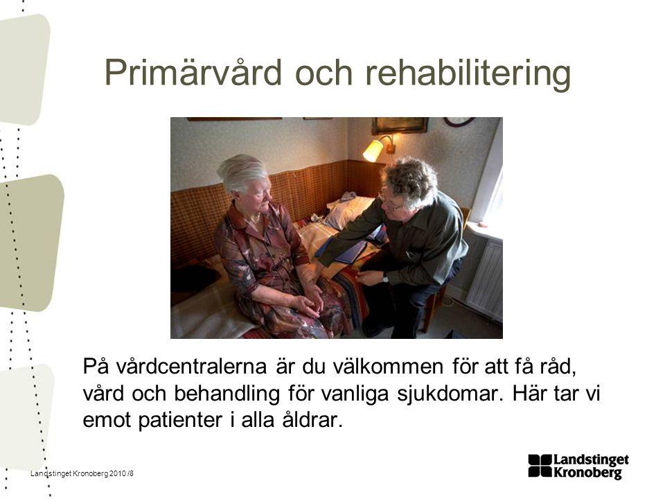 Landstinget Kronoberg 2010 /8 Primärvård och rehabilitering På vårdcentralerna är du välkommen för att få råd, vård och behandling för vanliga sjukdom