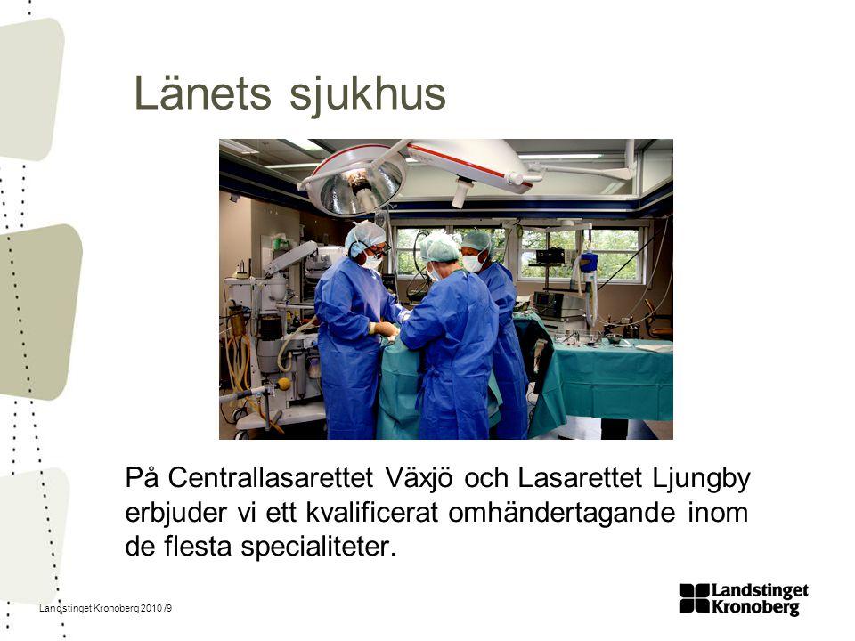 Landstinget Kronoberg 2010 /9 Länets sjukhus På Centrallasarettet Växjö och Lasarettet Ljungby erbjuder vi ett kvalificerat omhändertagande inom de fl