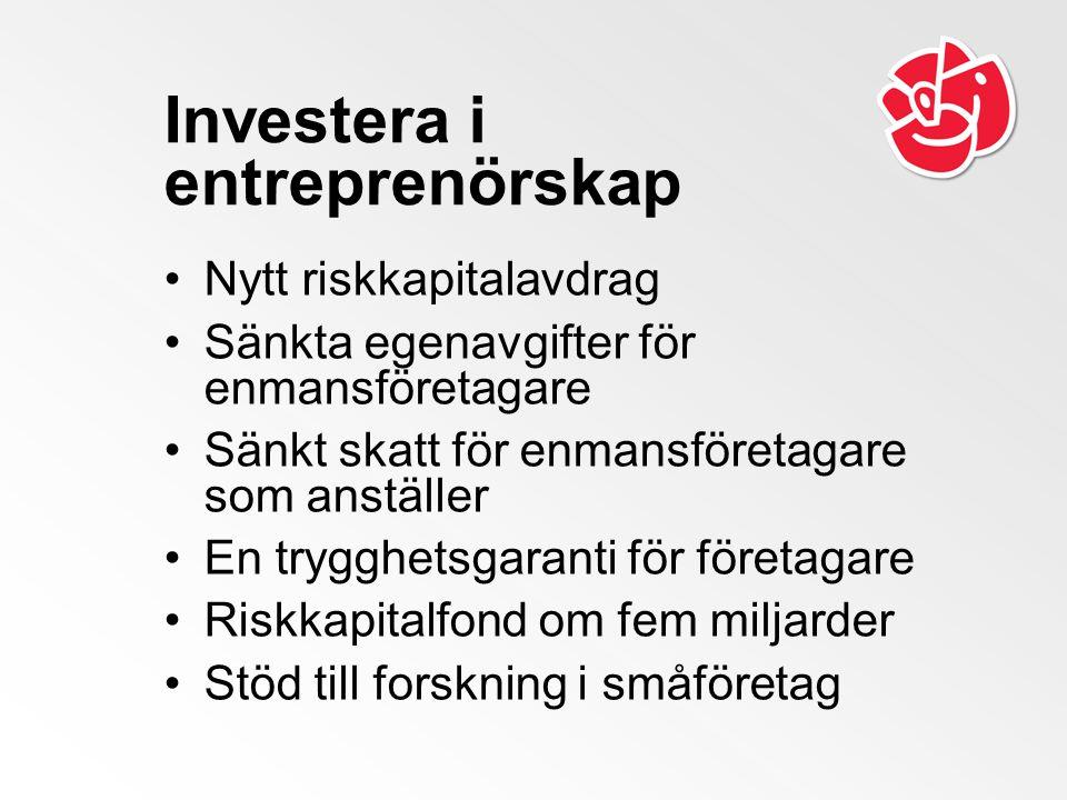 Investera i entreprenörskap Nytt riskkapitalavdrag Sänkta egenavgifter för enmansföretagare Sänkt skatt för enmansföretagare som anställer En trygghetsgaranti för företagare Riskkapitalfond om fem miljarder Stöd till forskning i småföretag