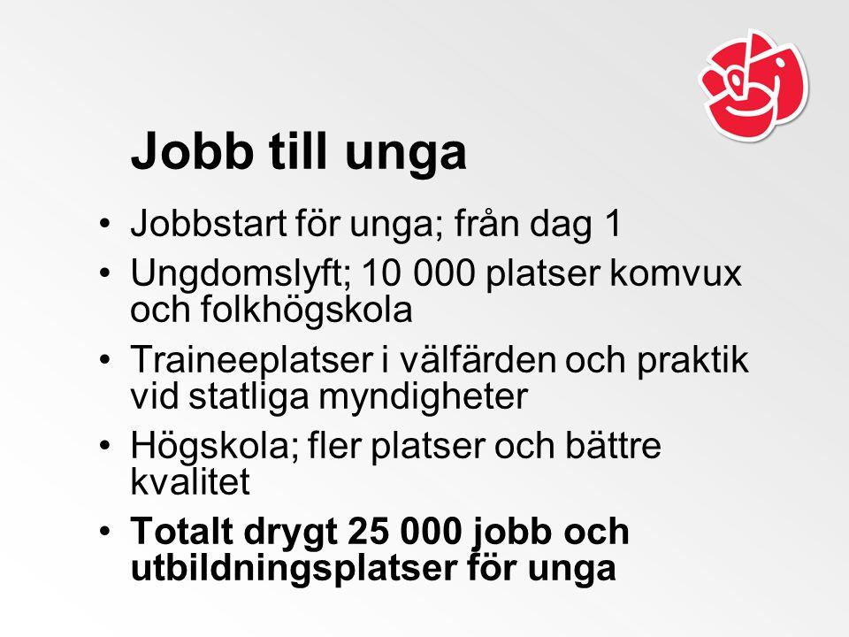 Jobb till unga Jobbstart för unga; från dag 1 Ungdomslyft; 10 000 platser komvux och folkhögskola Traineeplatser i välfärden och praktik vid statliga