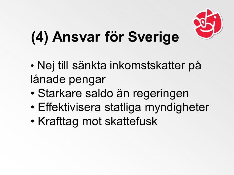 (4) Ansvar för Sverige Nej till sänkta inkomstskatter på lånade pengar Starkare saldo än regeringen Effektivisera statliga myndigheter Krafttag mot sk