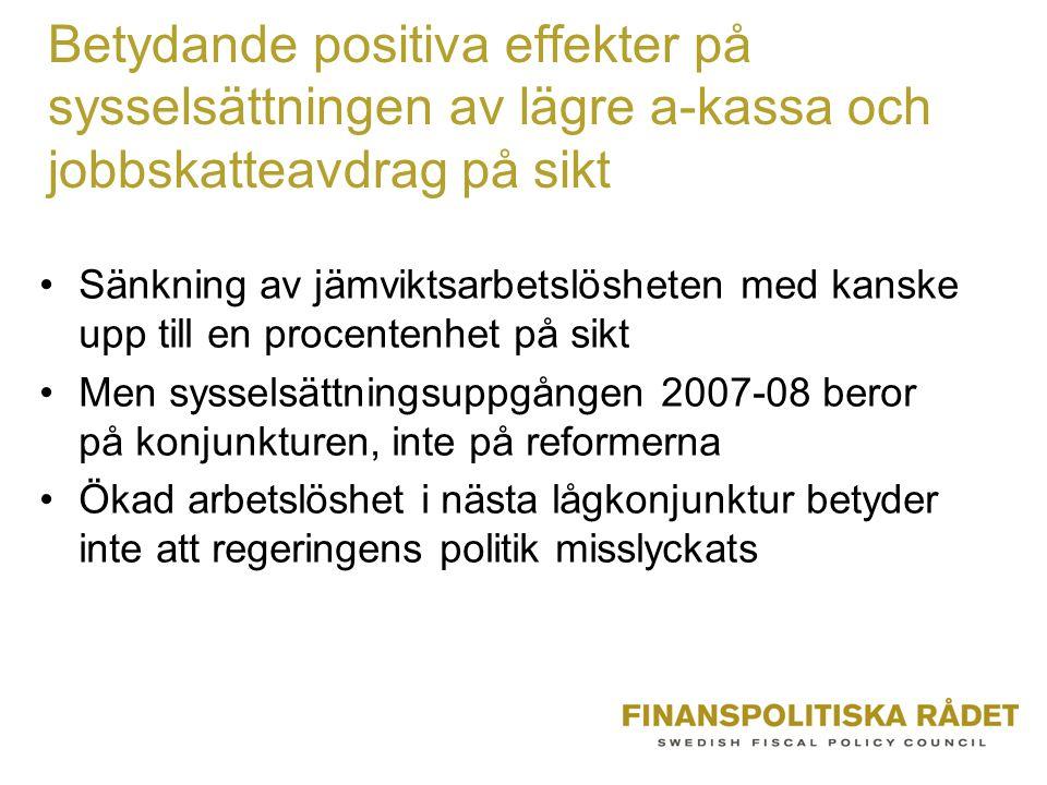 Betydande positiva effekter på sysselsättningen av lägre a-kassa och jobbskatteavdrag på sikt Sänkning av jämviktsarbetslösheten med kanske upp till e