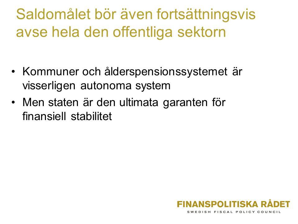Saldomålet bör även fortsättningsvis avse hela den offentliga sektorn Kommuner och ålderspensionssystemet är visserligen autonoma system Men staten är den ultimata garanten för finansiell stabilitet