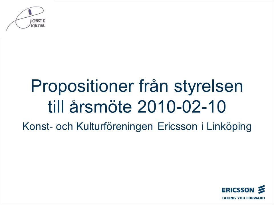 Propositioner från styrelsen till årsmöte 2010-02-10 Konst- och Kulturföreningen Ericsson i Linköping