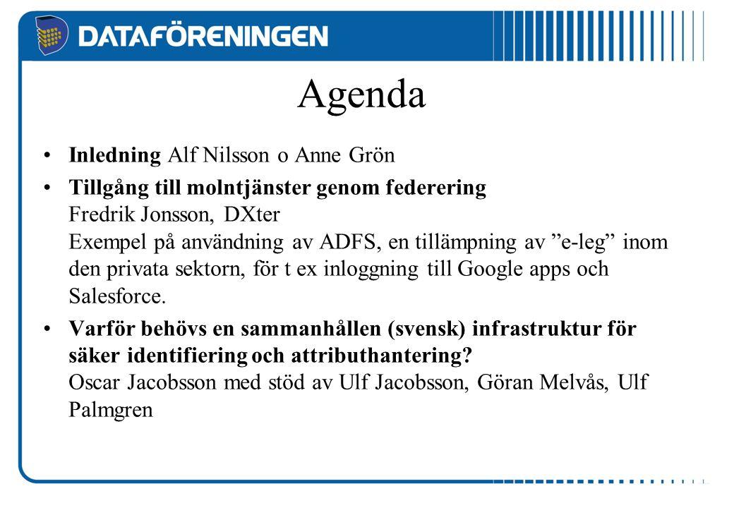 Agenda Inledning Alf Nilsson o Anne Grön Tillgång till molntjänster genom federering Fredrik Jonsson, DXter Exempel på användning av ADFS, en tillämpn