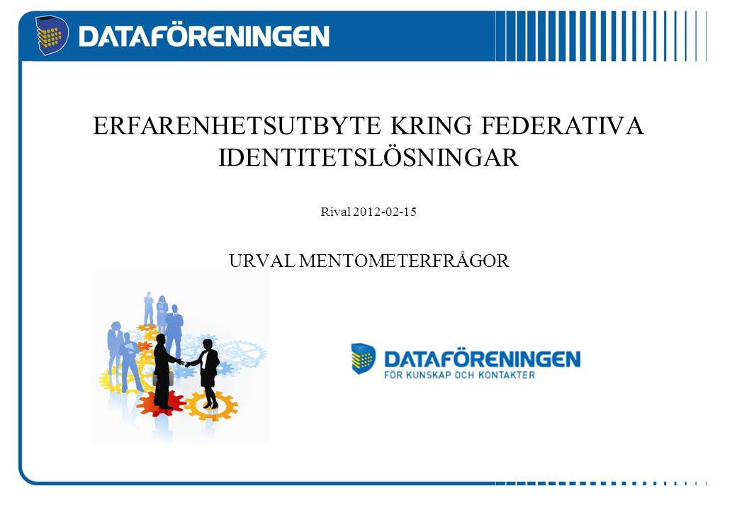 Kommer identitetsfederationer att få stor spridning och användning i Sverige inom 24 månader.