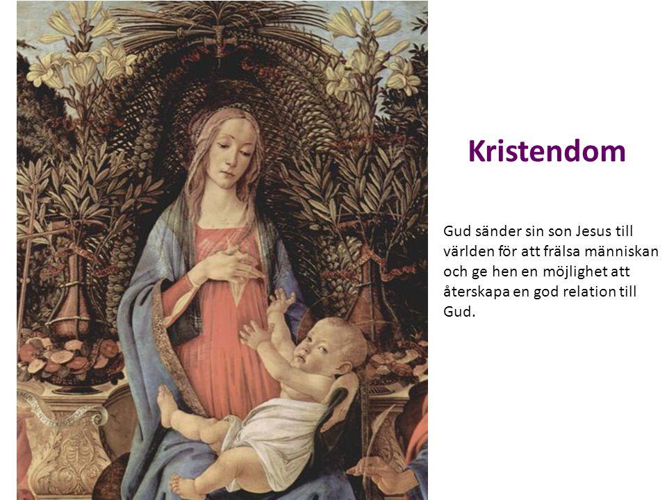 Kristendom Gud sänder sin son Jesus till världen för att frälsa människan och ge hen en möjlighet att återskapa en god relation till Gud.