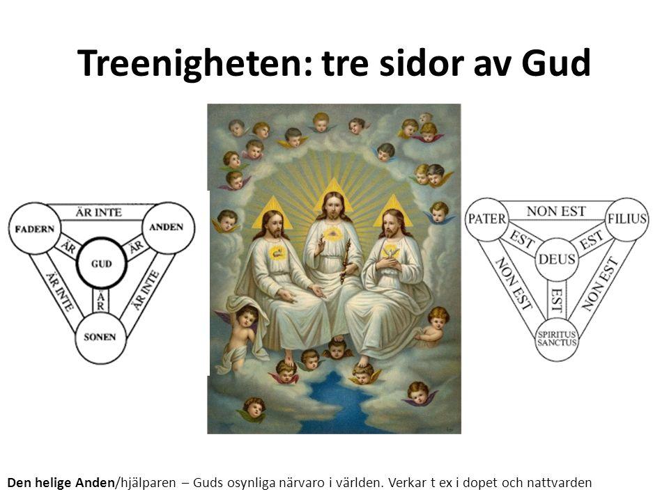 Treenigheten: tre sidor av Gud Den helige Anden/hjälparen – Guds osynliga närvaro i världen. Verkar t ex i dopet och nattvarden