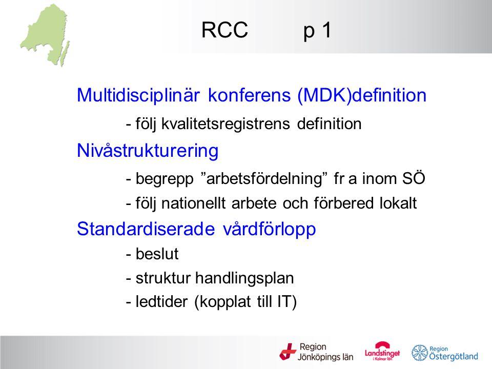"""RCC p 1 Multidisciplinär konferens (MDK)definition - följ kvalitetsregistrens definition Nivåstrukturering - begrepp """"arbetsfördelning"""" fr a inom SÖ -"""