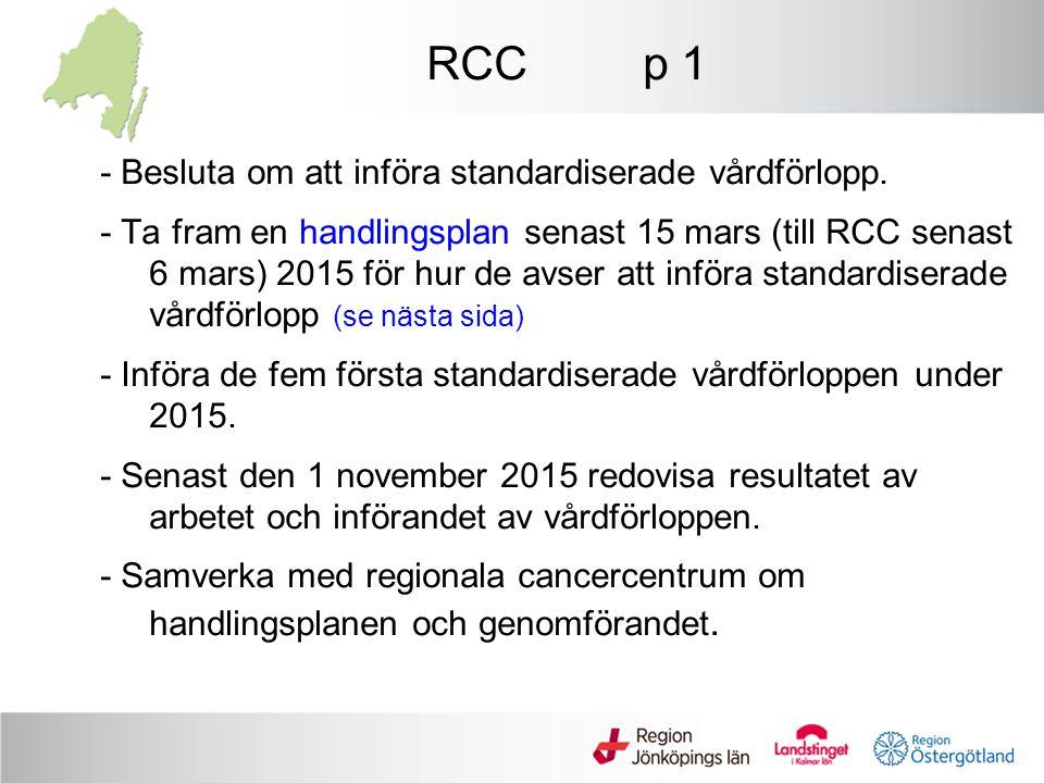 RCC p 1 - Besluta om att införa standardiserade vårdförlopp. - Ta fram en handlingsplan senast 15 mars (till RCC senast 6 mars) 2015 för hur de avser