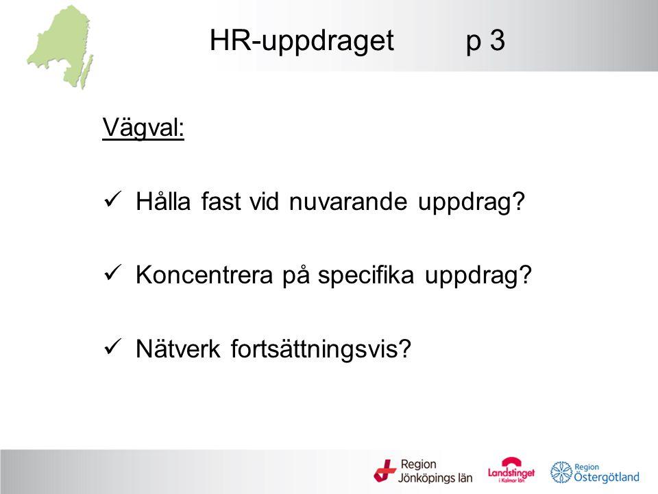 HR-uppdraget p 3 Vägval: Hålla fast vid nuvarande uppdrag? Koncentrera på specifika uppdrag? Nätverk fortsättningsvis?