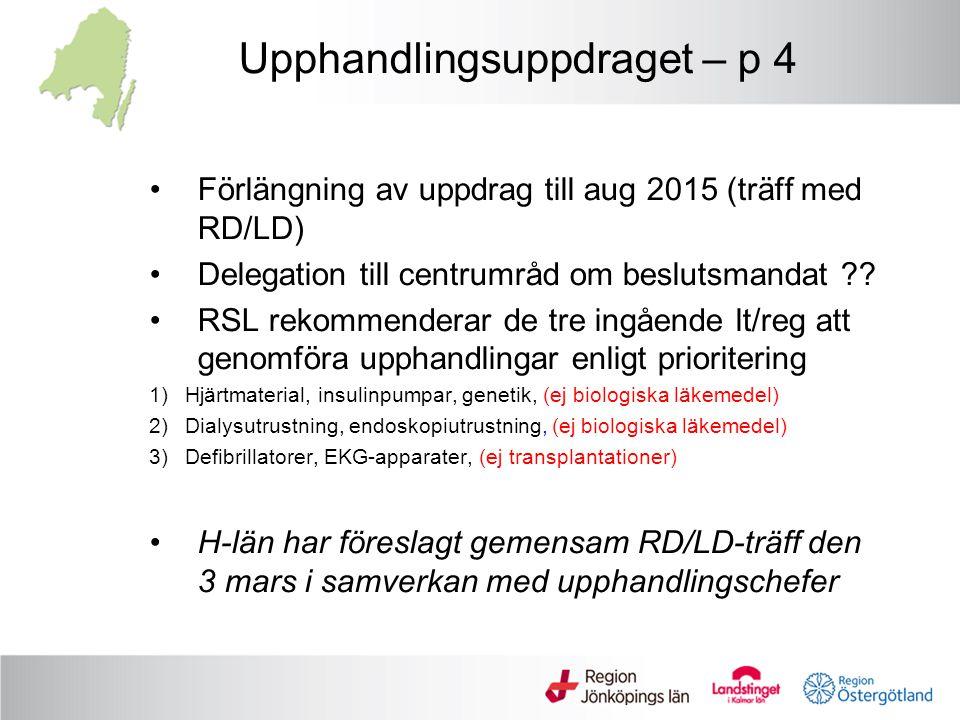 Upphandlingsuppdraget – p 4 Förlängning av uppdrag till aug 2015 (träff med RD/LD) Delegation till centrumråd om beslutsmandat ?? RSL rekommenderar de