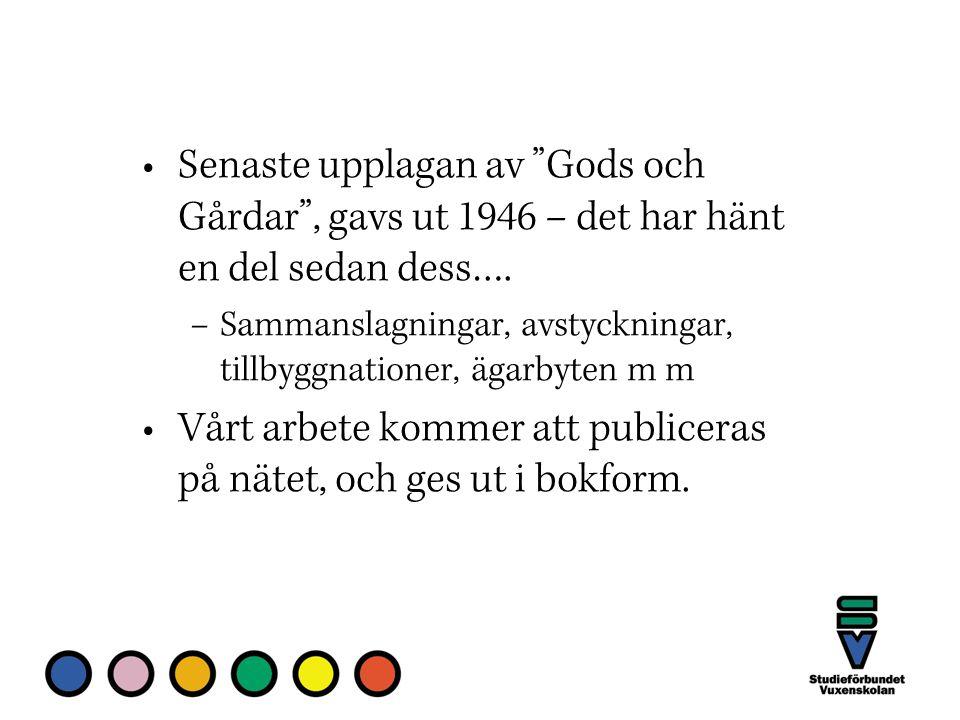 Senaste upplagan av Gods och Gårdar , gavs ut 1946 – det har hänt en del sedan dess….