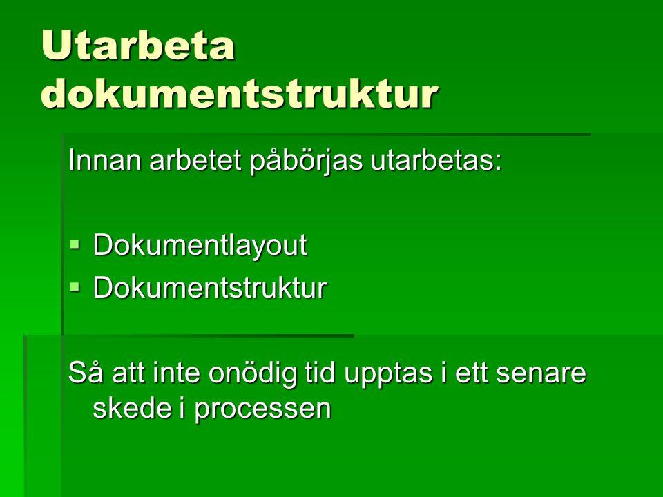 Utarbeta dokumentstruktur Innan arbetet påbörjas utarbetas:  Dokumentlayout  Dokumentstruktur Så att inte onödig tid upptas i ett senare skede i pro