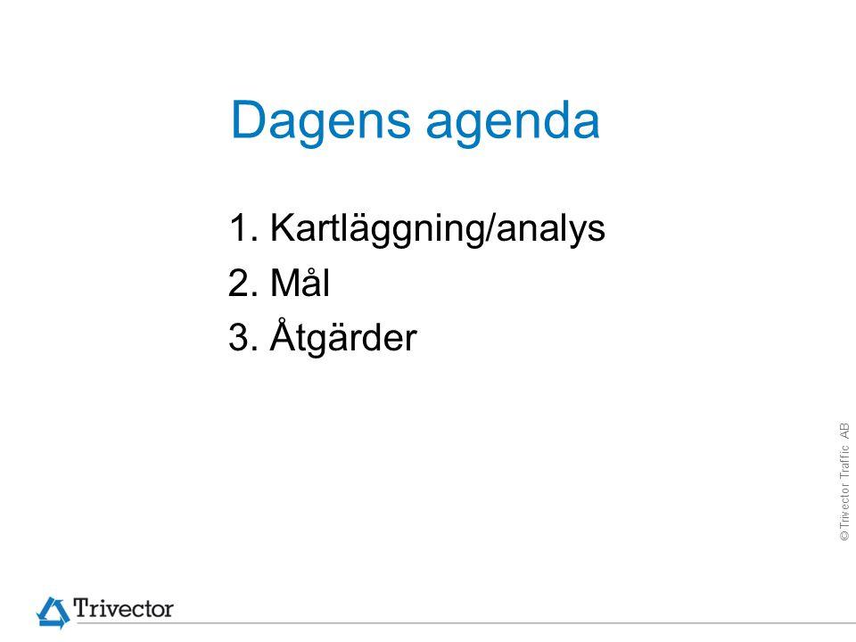 © Trivector Traffic AB Dagens agenda 1. Kartläggning/analys 2. Mål 3. Åtgärder
