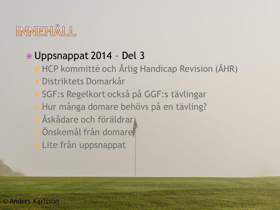  Uppsnappat 2014 – Del 3  HCP kommitté och Årlig Handicap Revision (ÅHR)  Distriktets Domarkår  SGF:s Regelkort också på GGF:s tävlingar  Hur många domare behövs på en tävling.