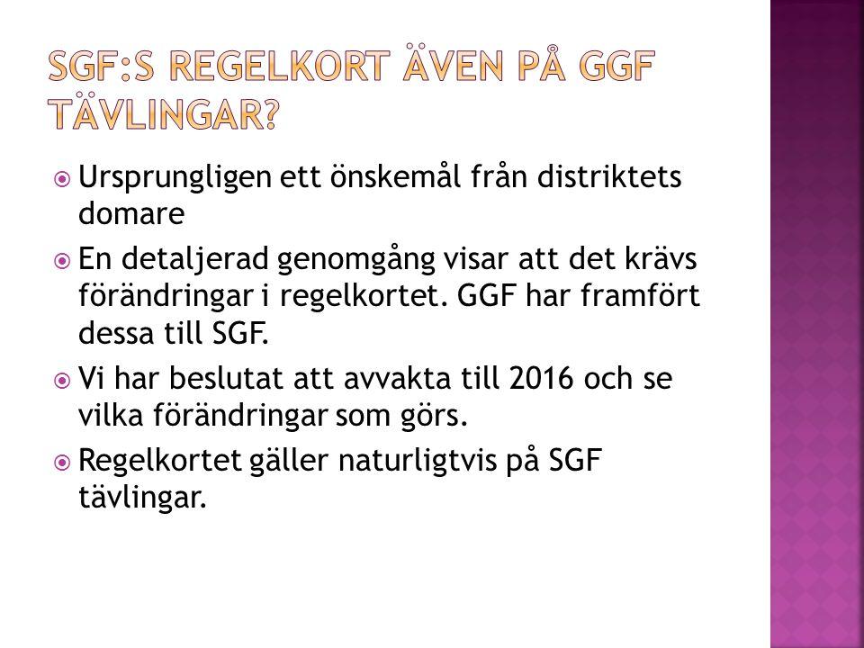  Ursprungligen ett önskemål från distriktets domare  En detaljerad genomgång visar att det krävs förändringar i regelkortet. GGF har framfört dessa