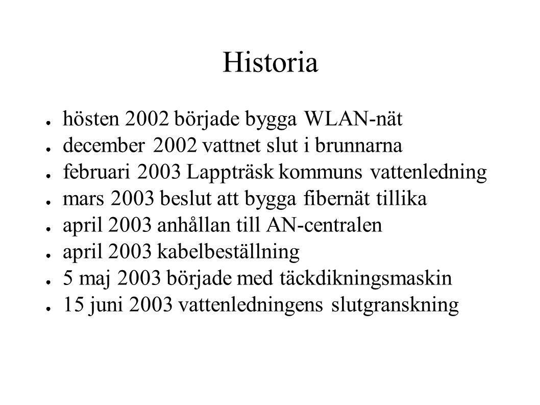 Historia 2 ● juli 2003 grävde korta bitar vid åbro ● augusti 2003 satte upp 300 m luftkabel ● september 2003 svetsade ihop kablarna ● 9 september 2003 slutgranskning av svetsning ● 9 september 2003 kl.
