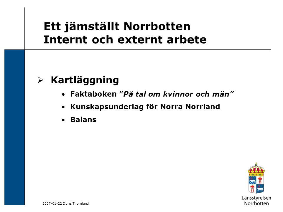 2007-01-22 Doris Thornlund Ett jämställt Norrbotten Internt och externt arbete  Kartläggning Faktaboken På tal om kvinnor och män Kunskapsunderlag för Norra Norrland Balans