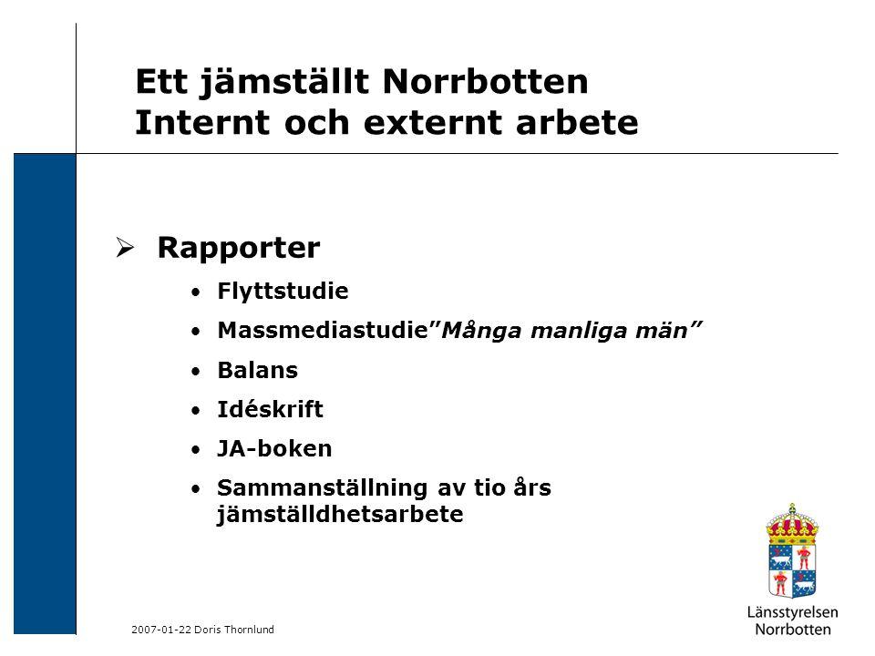 """2007-01-22 Doris Thornlund Ett jämställt Norrbotten Internt och externt arbete  Rapporter Flyttstudie Massmediastudie""""Många manliga män"""" Balans Idésk"""