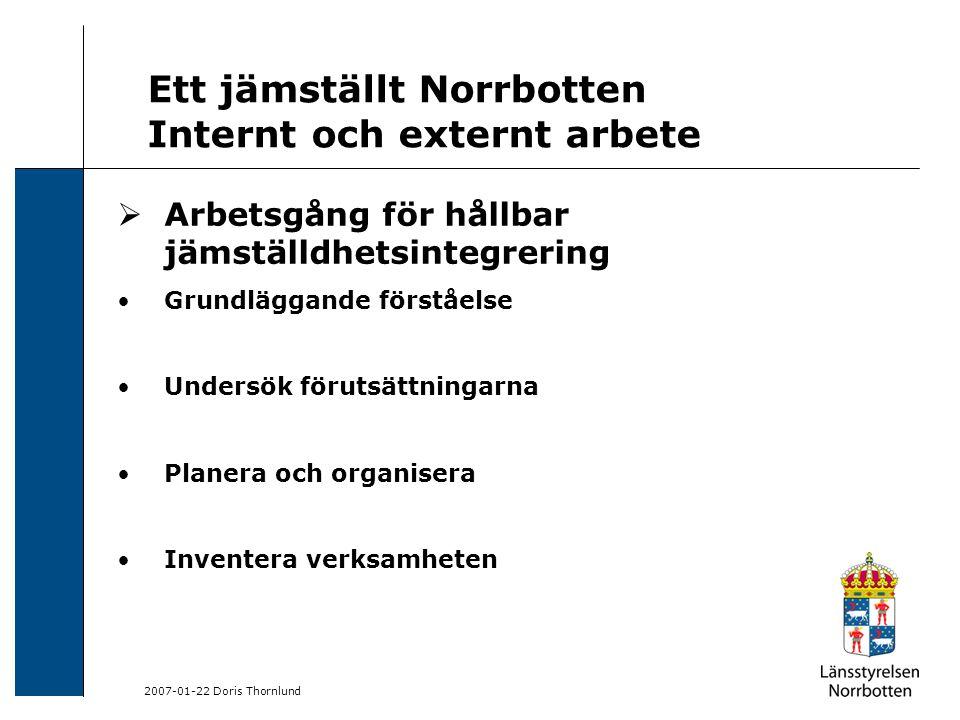 2007-01-22 Doris Thornlund Ett jämställt Norrbotten Internt och externt arbete  Arbetsgång för hållbar jämställdhetsintegrering Grundläggande förståelse Undersök förutsättningarna Planera och organisera Inventera verksamheten