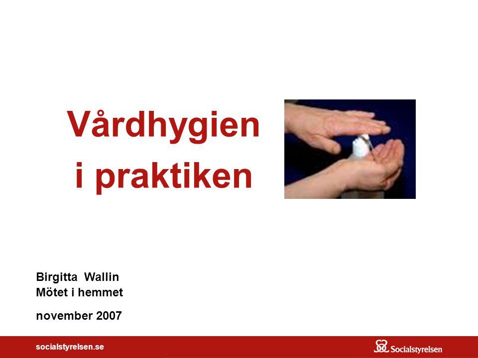 socialstyrelsen.se Vårdhygien i praktiken Birgitta Wallin Mötet i hemmet november 2007