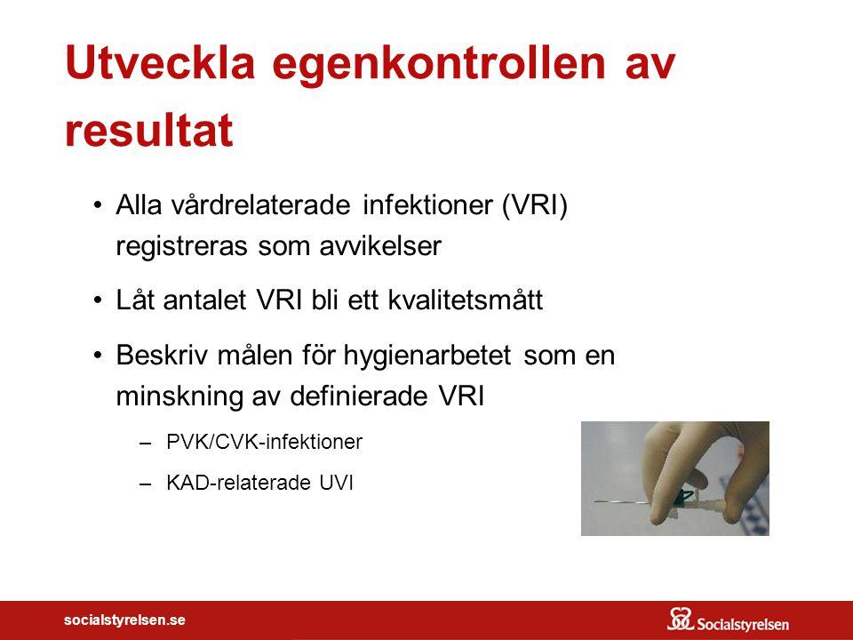 socialstyrelsen.se Utveckla egenkontrollen av resultat Alla vårdrelaterade infektioner (VRI) registreras som avvikelser Låt antalet VRI bli ett kvalit