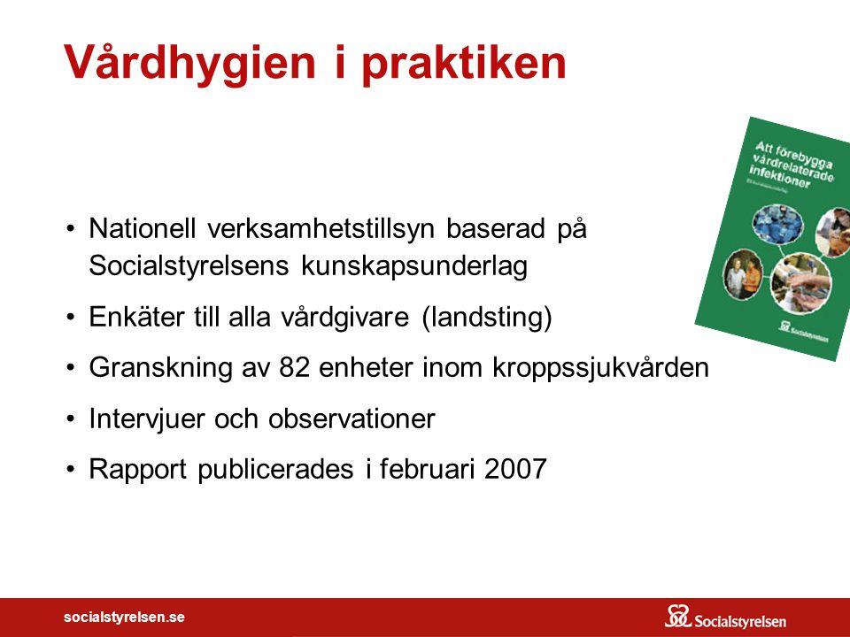 socialstyrelsen.se Vårdhygien i praktiken Nationell verksamhetstillsyn baserad på Socialstyrelsens kunskapsunderlag Enkäter till alla vårdgivare (land