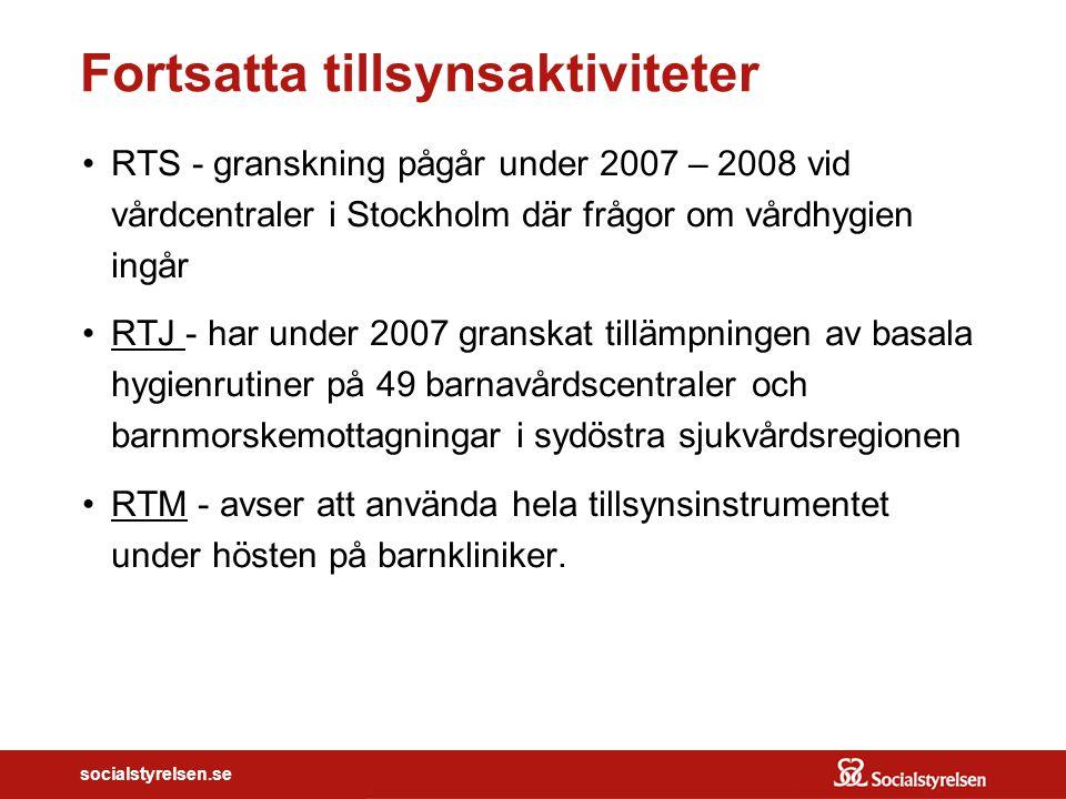 socialstyrelsen.se Fortsatta tillsynsaktiviteter RTS - granskning pågår under 2007 – 2008 vid vårdcentraler i Stockholm där frågor om vårdhygien ingår