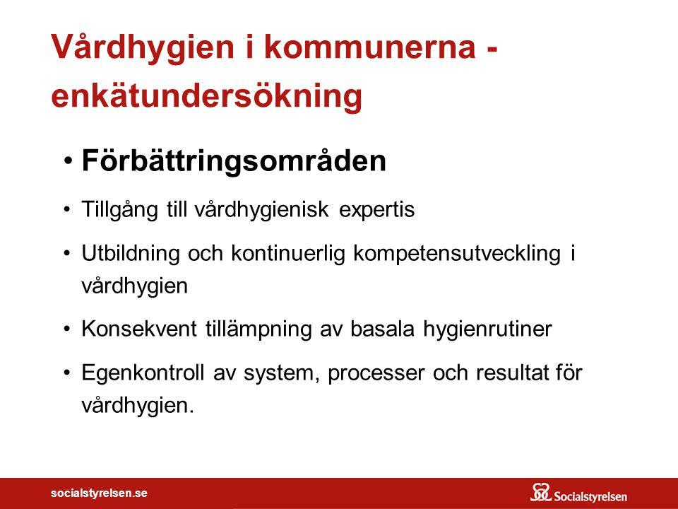socialstyrelsen.se Vårdhygien i kommunerna - enkätundersökning Förbättringsområden Tillgång till vårdhygienisk expertis Utbildning och kontinuerlig ko