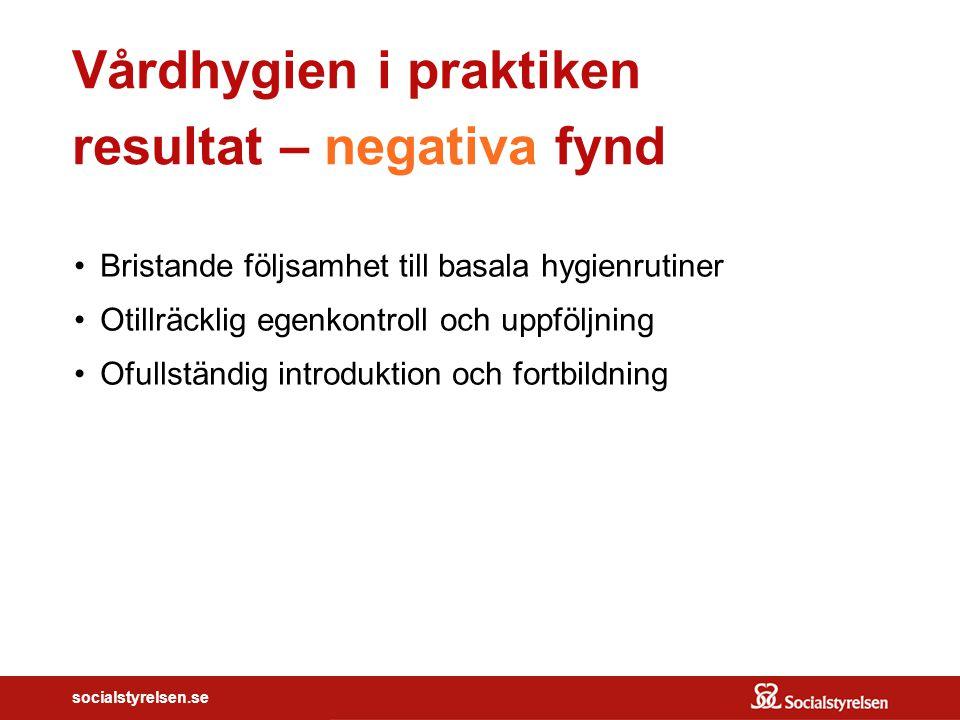 socialstyrelsen.se Vårdhygien i praktiken resultat – negativa fynd Bristande följsamhet till basala hygienrutiner Otillräcklig egenkontroll och uppföl