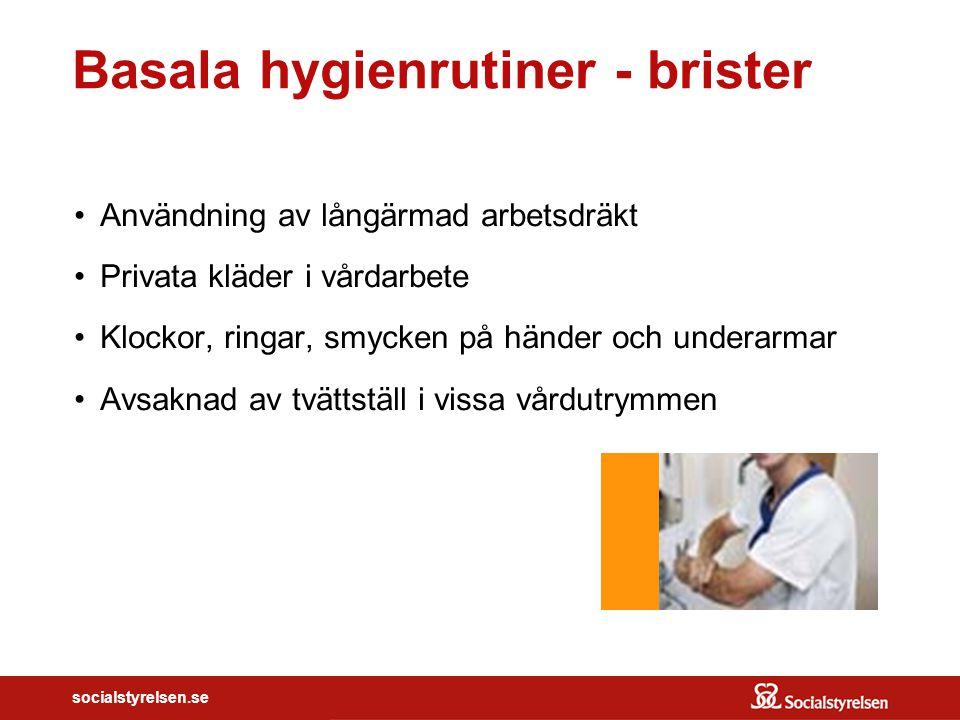 socialstyrelsen.se Basala hygienrutiner - brister Användning av långärmad arbetsdräkt Privata kläder i vårdarbete Klockor, ringar, smycken på händer o