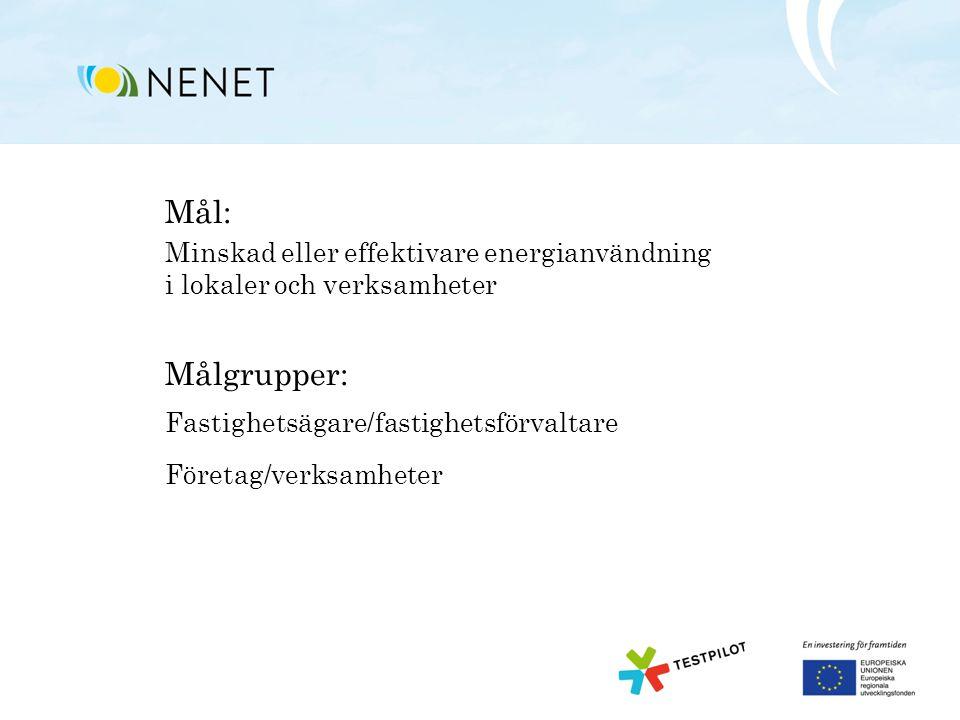 Mål: Minskad eller effektivare energianvändning i lokaler och verksamheter Målgrupper: Fastighetsägare/fastighetsförvaltare Företag/verksamheter