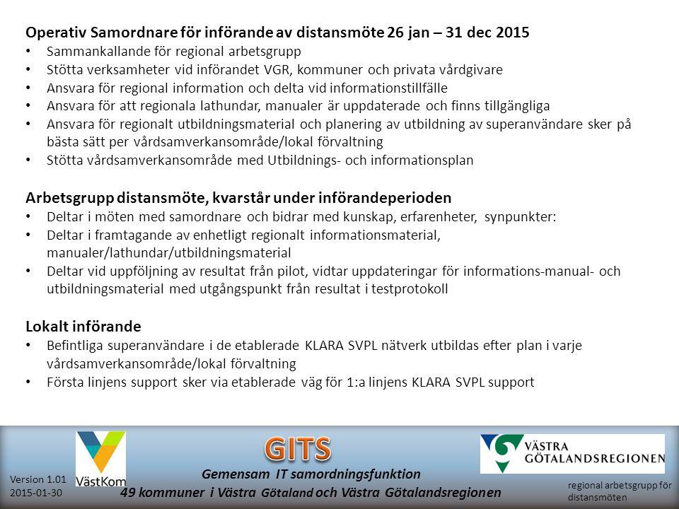 regional arbetsgrupp för distansmöten Version 1.01 2015-01-30 Gemensam IT samordningsfunktion 49 kommuner i Västra Götaland och Västra Götalandsregionen Regionalt material distansmöte via video, samordnad vård- och omsorgsplanering Publiceras på hemsida: http://www.vgregion.se/sv/Ovriga-sidor/Samordnad-vardplanering/Videomote/Manualer-Videomote/ http://www.vgregion.se/sv/Ovriga-sidor/Samordnad-vardplanering/Videomote/Manualer-Videomote/ Informationsmaterial Patientinformation distansmöte via video, samordnad vård- och omsorgsplanering Närståendeinformation distansmöte via video, samordnad vård- och omsorgsplanering Regional information distansmöte via video, samordnad vård- och omsorgsplanering Lathundar Checklista distansmöte via video, samordnad vård- och omsorgsplanering Lathund mottagare med Lync, distansmöte via video, samordnad vård- och omsorgsplanering Lathund mottagare utan Lync, distansmöte via video, samordnad vård- och omsorgsplanering Lathund kalla till distansmöte via video, samordnad vård- och omsorgsplanering Dokument för test Patientenkät Testprotokoll för deltagare vid Lyncmöte från sjukhus, primärvård, kommun, närstående Sammanställningsmall för patientenkät Manualer Lync samordnad vård- och omsorgsplanering förutsättningar teknik, lokaler Ordlista fackspråk, distansmöte via video Lync manual, Västra Götalandsregionen Lync kamera inställning