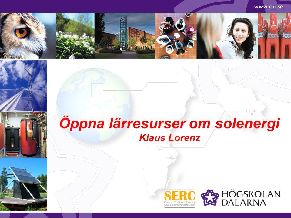 Öppna lärresurser om solenergi Klaus Lorenz
