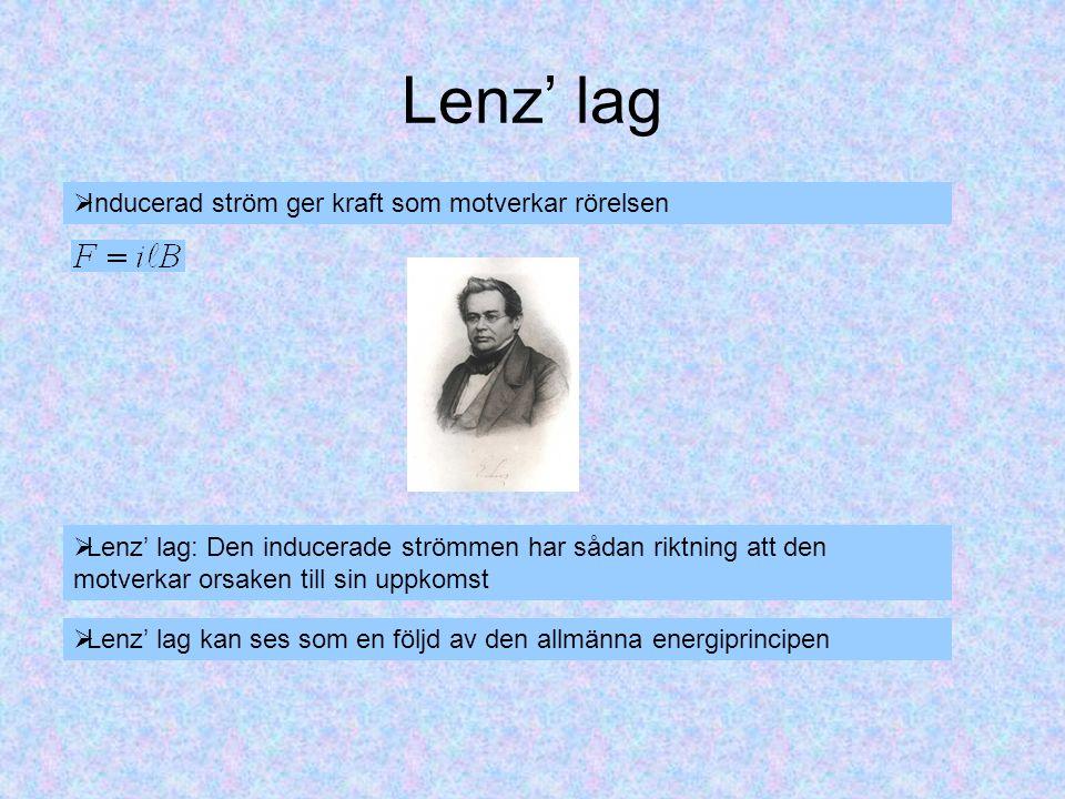Lenz' lag  Inducerad ström ger kraft som motverkar rörelsen  Lenz' lag: Den inducerade strömmen har sådan riktning att den motverkar orsaken till sin uppkomst  Lenz' lag kan ses som en följd av den allmänna energiprincipen