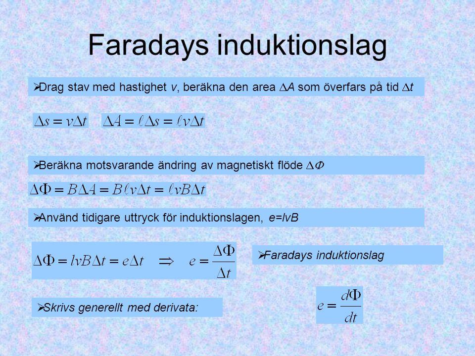 Faradays induktionslag  Drag stav med hastighet v, beräkna den area  A som överfars på tid  t  Beräkna motsvarande ändring av magnetiskt flöde   Använd tidigare uttryck för induktionslagen, e=lvB  Faradays induktionslag  Skrivs generellt med derivata: