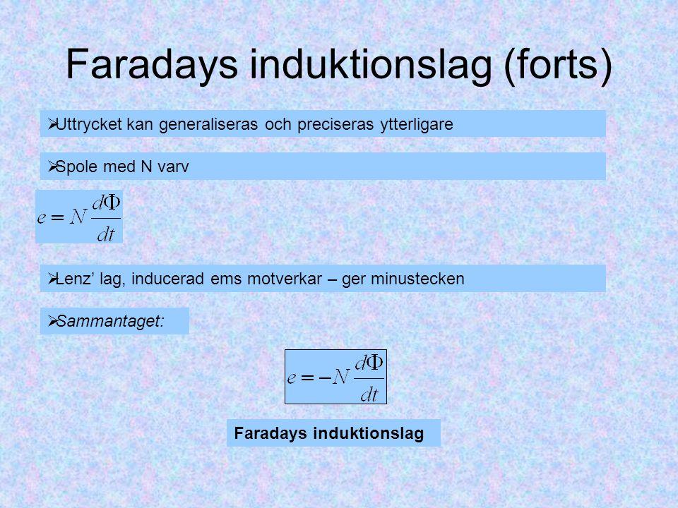 Faradays induktionslag (forts)  Uttrycket kan generaliseras och preciseras ytterligare  Spole med N varv  Lenz' lag, inducerad ems motverkar – ger minustecken Faradays induktionslag  Sammantaget: