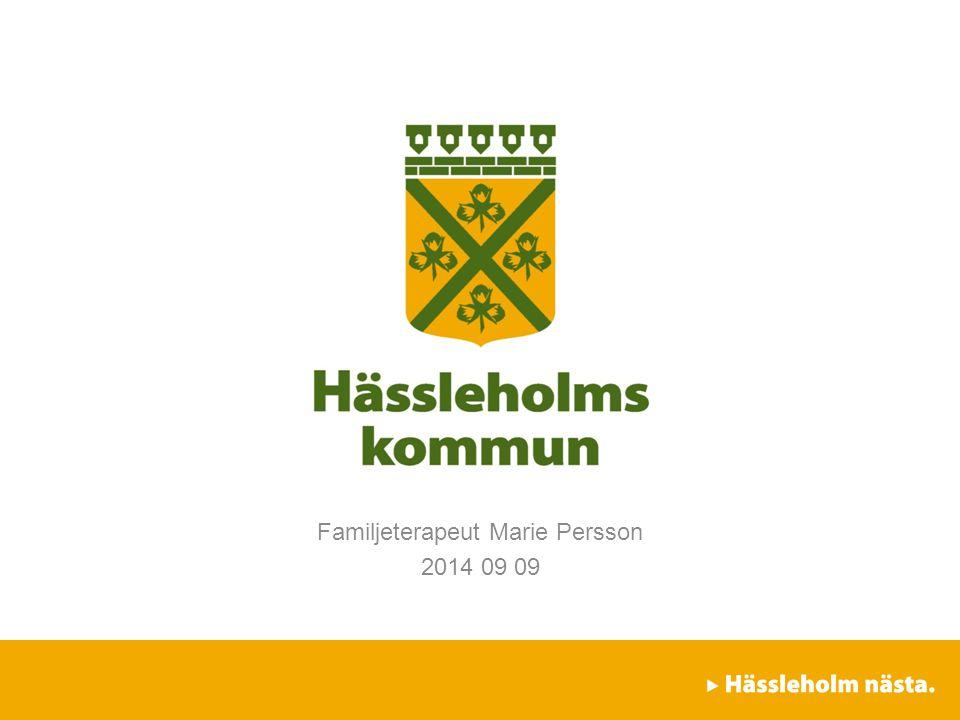 Socialförvaltningen / Familjefridsteamet / Vuxenenheten Familjeterapeut Marie Persson 2014 09 09