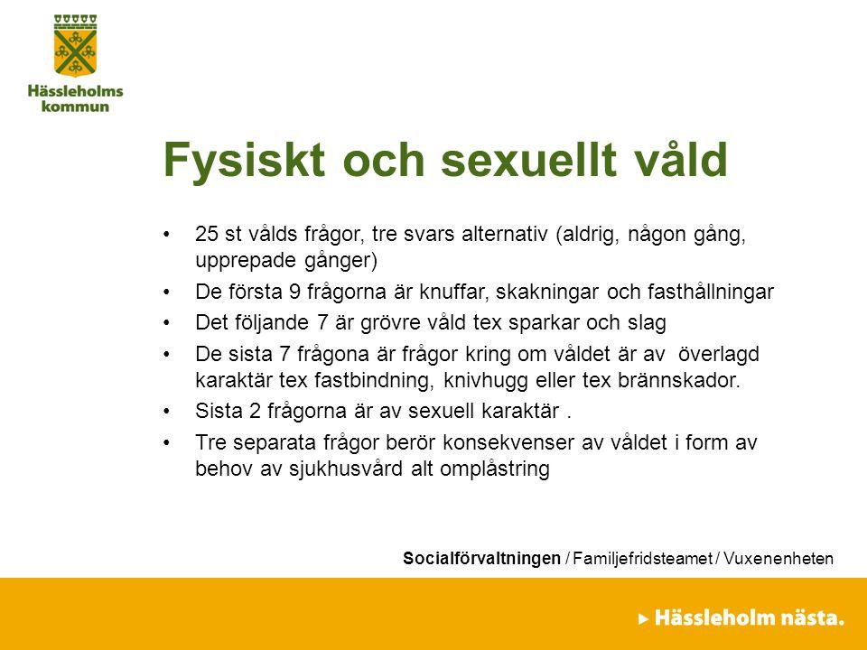 Socialförvaltningen / Familjefridsteamet / Vuxenenheten Fysiskt och sexuellt våld 25 st vålds frågor, tre svars alternativ (aldrig, någon gång, upprep