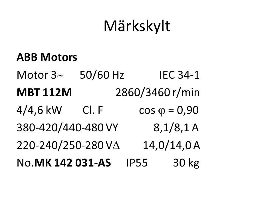 Märkskylt ABB Motors Motor 3  50/60 Hz IEC 34-1 MBT 112M 2860/3460 r/min 4/4,6 kW Cl. F cos  = 0,90 380-420/440-480 VY8,1/8,1 A 220-240/250-280 V 