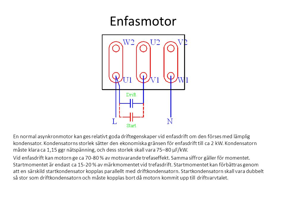 Enfasmotor En normal asynkronmotor kan ges relativt goda driftegenskaper vid enfasdrift om den förses med lämplig kondensator. Kondensatorns storlek s