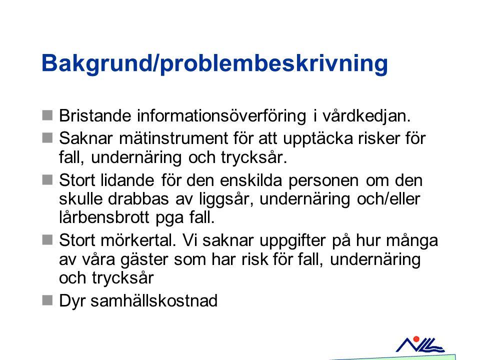 Bakgrund/problembeskrivning Bristande informationsöverföring i vårdkedjan. Saknar mätinstrument för att upptäcka risker för fall, undernäring och tryc