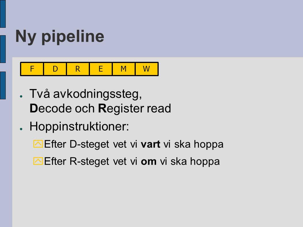 Ny pipeline ● Två avkodningssteg, Decode och Register read ● Hoppinstruktioner:  Efter D-steget vet vi vart vi ska hoppa  Efter R-steget vet vi om vi ska hoppa FDREMW