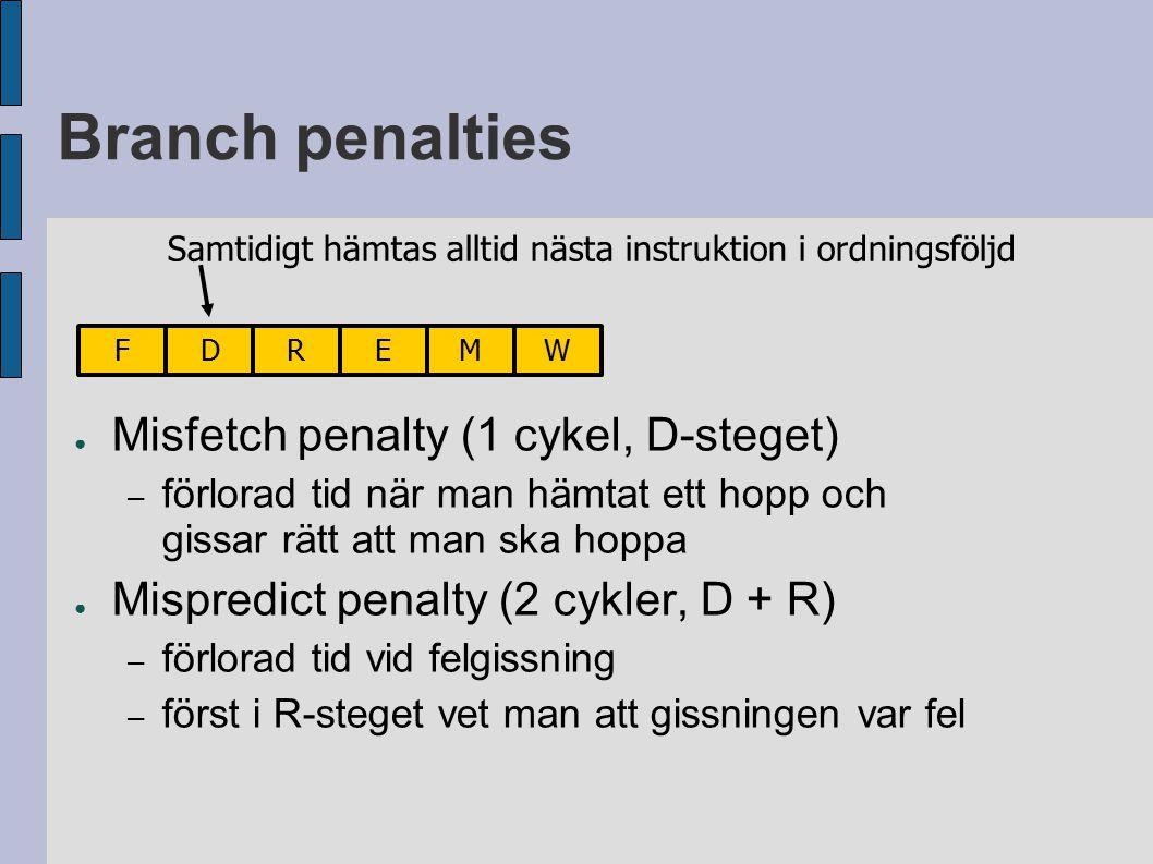 Branch penalties ● Misfetch penalty (1 cykel, D-steget) – förlorad tid när man hämtat ett hopp och gissar rätt att man ska hoppa ● Mispredict penalty (2 cykler, D + R) – förlorad tid vid felgissning – först i R-steget vet man att gissningen var fel FDREMW Samtidigt hämtas alltid nästa instruktion i ordningsföljd