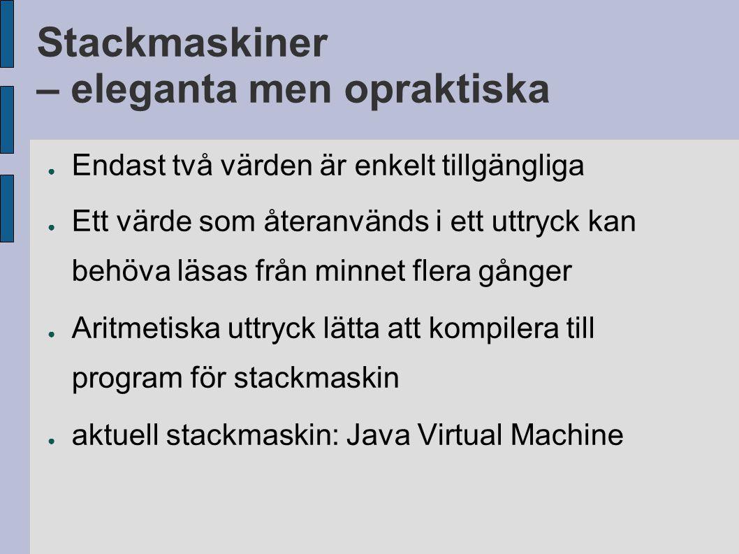 Stackmaskiner – eleganta men opraktiska ● Endast två värden är enkelt tillgängliga ● Ett värde som återanvänds i ett uttryck kan behöva läsas från minnet flera gånger ● Aritmetiska uttryck lätta att kompilera till program för stackmaskin ● aktuell stackmaskin: Java Virtual Machine