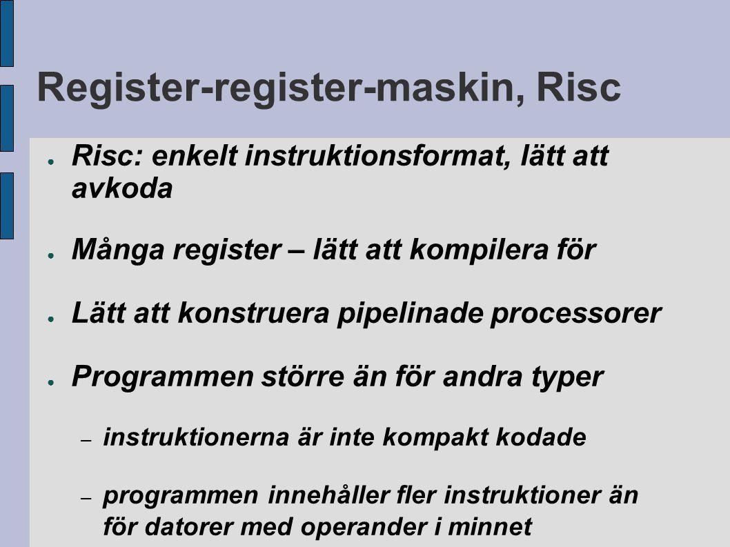 Register-register-maskin, Risc ● Risc: enkelt instruktionsformat, lätt att avkoda ● Många register – lätt att kompilera för ● Lätt att konstruera pipelinade processorer ● Programmen större än för andra typer – instruktionerna är inte kompakt kodade – programmen innehåller fler instruktioner än för datorer med operander i minnet