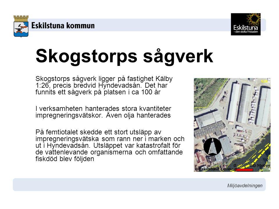 Miljöavdelningen Skogstorps sågverk Skogstorps sågverk ligger på fastighet Kälby 1:26, precis bredvid Hyndevadsån. Det har funnits ett sågverk på plat
