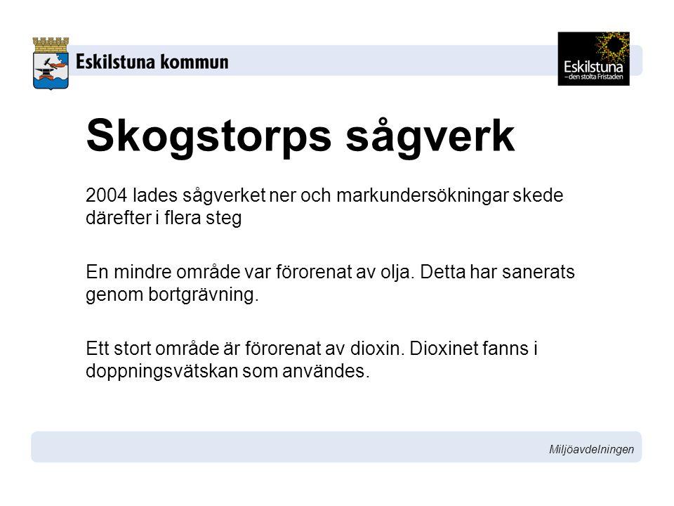 Miljöavdelningen Skogstorps sågverk 2004 lades sågverket ner och markundersökningar skede därefter i flera steg En mindre område var förorenat av olja